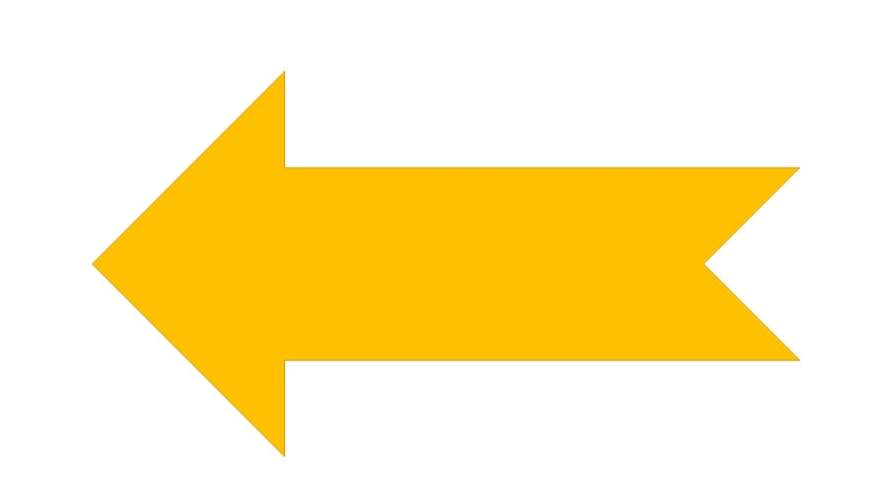 Gold Coloured Arrow Pointing Left
