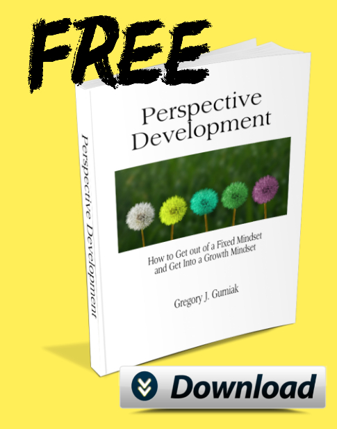 """Image of Perspective Development eBook against a bright yellow background with a download button and the word """"FREE"""" in black letters across the top"""